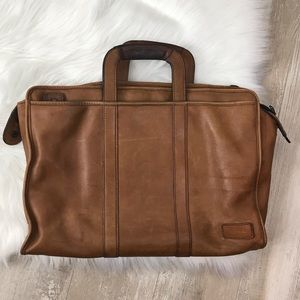 Monsac Brown Leather Briefcase Computer Tote Bag